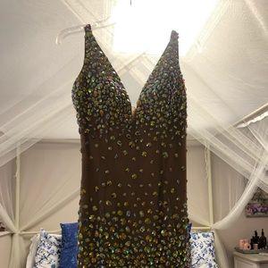 Sherri Hill size 8 nude colored mini dress